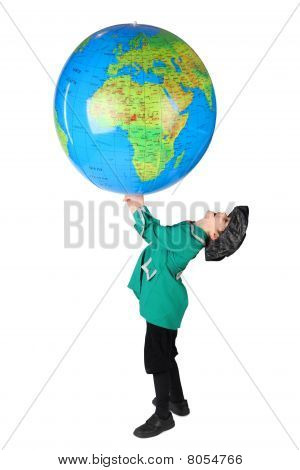Little Boy In Historical Dress Holding Big Inflatable Globe Over His Head  Side View Isolated