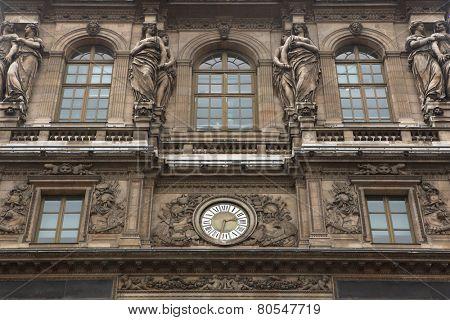 Renaissance facades of the Louvre Museum in Paris, France.