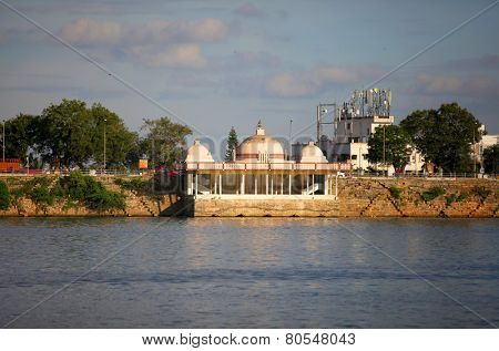Buddha temple at lake Hussain sagar in Hyderabad, India