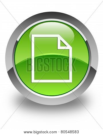 Blank Page Icon Glossy Green Round Button