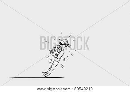 Caricature of thief with money bangs in hands
