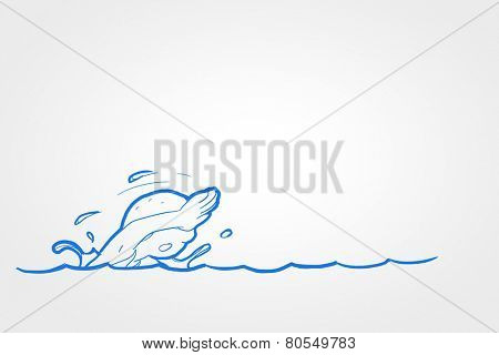 Close up of human hand drawing caricature of swimming man