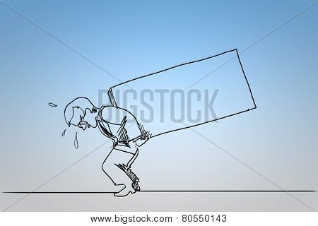 Caricature of man carrying box on back