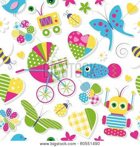 cute baby stroller hearts flowers toys and animals pattern