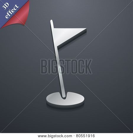 Flag Hole Icon Symbol. 3D Style. Trendy, Modern Design With Space For Your Text Vector