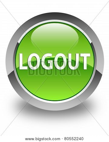 Logout Glossy Green Round Button