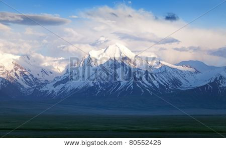 Beautiful Evening View From Pamir Mountain