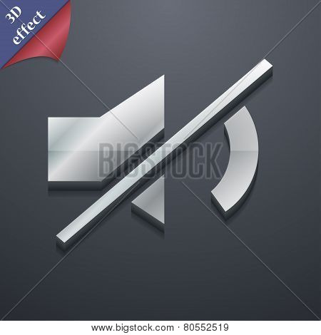 Mute Speaker Icon Symbol. 3D Style. Trendy, Modern Design With Space For Your Text Vector