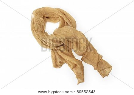Beige Scarf Chiffon Isolated On White Background