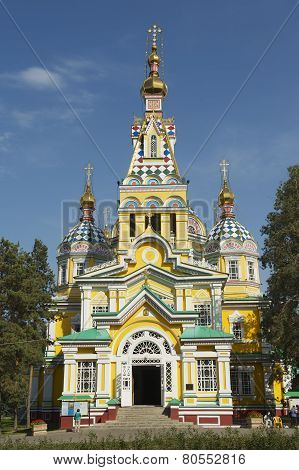 Ascension Cathedral exterior in Almaty, Kazakhstan.