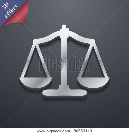 Scales Of Justice Icon Symbol. 3D Style. Trendy, Modern Design With Space For Your Text Vector