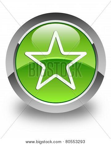 Star Icon Glossy Green Round Button