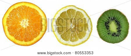 Three Fruits: Orange, Lemon, Kiwi