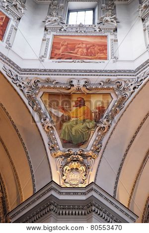SALZBURG, AUSTRIA - DECEMBER 13: Saint Luke the Evangelist, fragment of the dome in Salzburg Cathedral on December 13, 2014 in Salzburg, Austria.