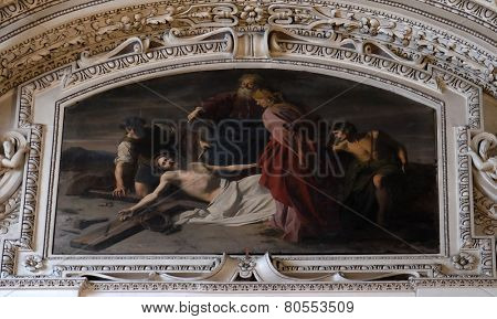 SALZBURG, AUSTRIA - DECEMBER 13: 11th Stations of the Cross, Crucifixion: Jesus is nailed to the cross, fragment of the dome in Salzburg Cathedral on December 13, 2014 in Salzburg, Austria.