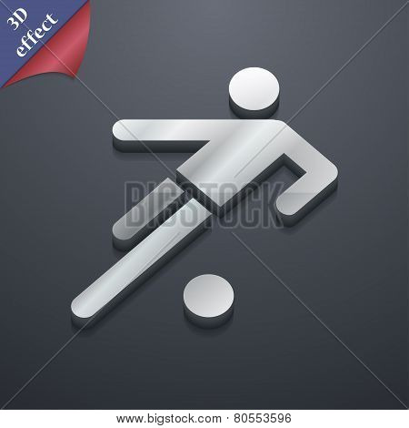 Football Player Icon Symbol. 3D Style. Trendy, Modern Design With Space For Your Text Vector