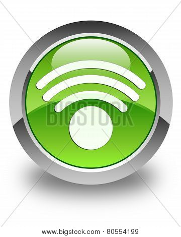 Wifi Signal Icon Glossy Green Round Button