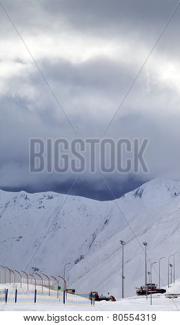 Ski Slope And Storm Clouds In Evening