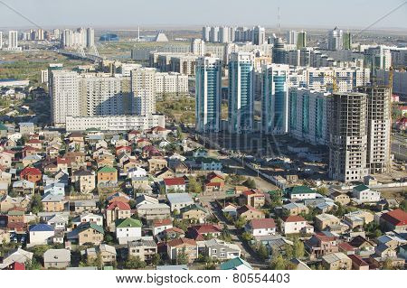 Aerial view to Astana city buildings in Astana, Kazakhstan.