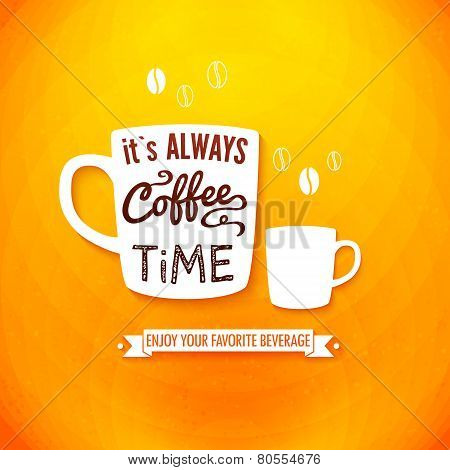 Poster with coffee cups on a bright chcheerful background.