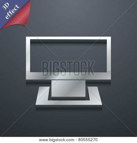 Computer Widescreen Icon Symbol. 3D Style. Trendy, Modern Design With Space For Your Text Vector