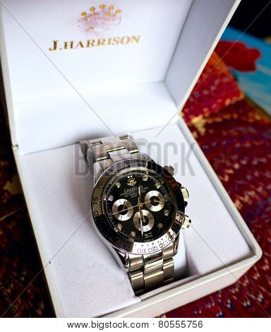 GOMEL, BELARUS - JANUARY 9, 2015: J. HARRISON J.H-014DS wristwatch. J. HARRISON this Japanese watch company.