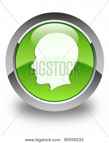 Head (woman Face) Icon Glossy Green Round Button