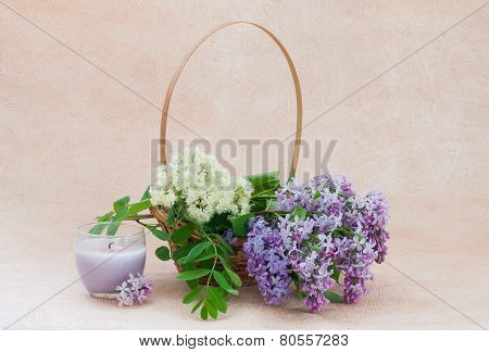 Bouquet of lilac and rowan flowers in a basket