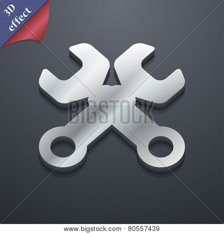 Wrench Key Icon Symbol. 3D Style. Trendy, Modern Design With Space For Your Text Vector
