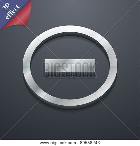 Minus Icon Symbol. 3D Style. Trendy, Modern Design With Space For Your Text Vector