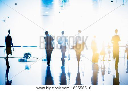 Futuristic  Airport interior people walking in motion blur