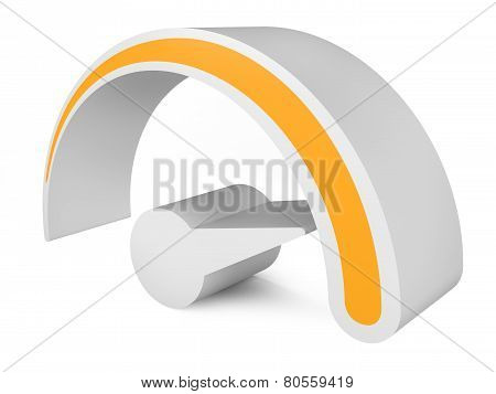 Orange Speedometer. Abstract 3D Symbol