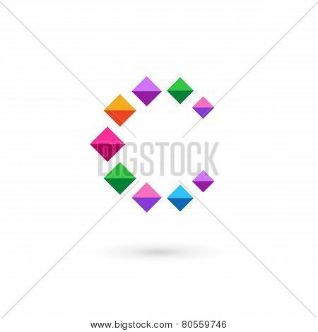 Letter C Mosaic Crystal Logo Icon Design Template Elements