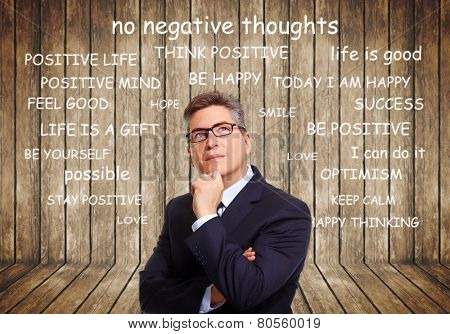 Positive thinking male over abstract background. Positivity concept design.