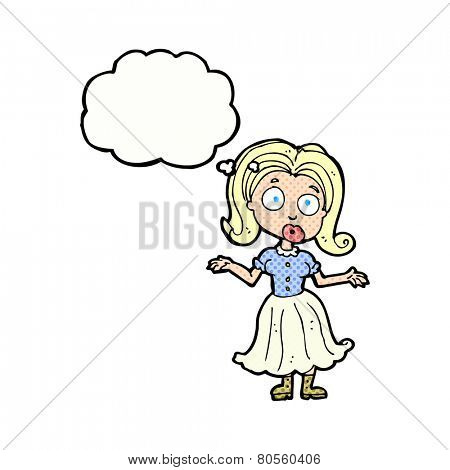 cartoon confused girl with thought bubble