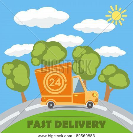 Fast Delivery Van Truck With 24 Hour Vinyl Logo. Vector.