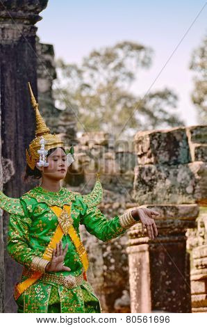 Khmer classical female dancer performing in traditional Ca