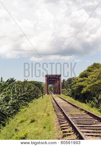Iron Bridge In Railroad