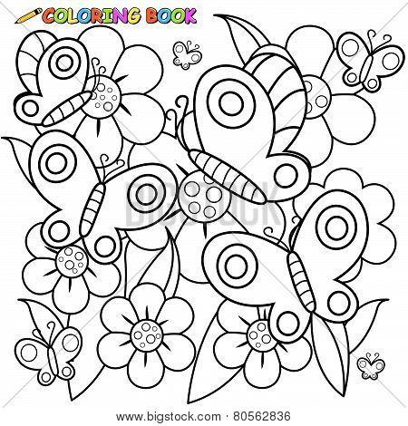 Coloring book page butterflies and flowers