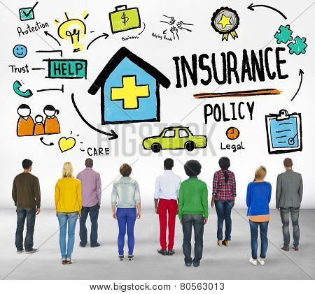 Diversity Casual People Insurance Policy Benefits Service Concept