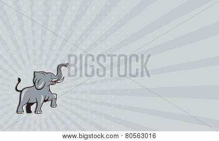 Business Card Elephant Marching Prancing Cartoon