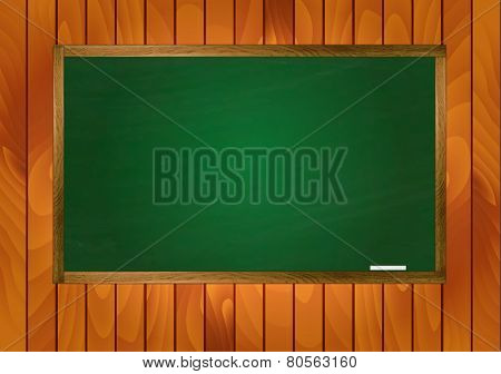 School Blackboard On Wooden Background
