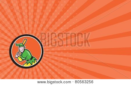 Business Card Elf Baseball Player Batting Circle Cartoon