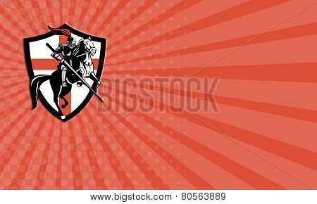 Business Card English Knight Riding Horse England Flag Retro
