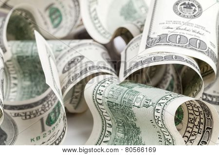 United States Dollars. Pile Of Hundred Usd Banknotes