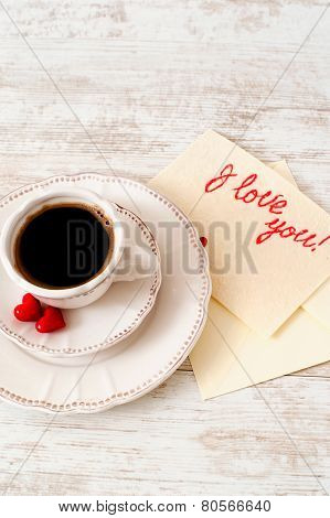 Valentine's Day Celebrating White Porcelain Coffee Set