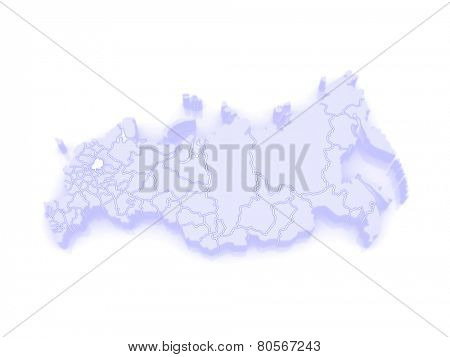 Map of the Russian Federation. Yaroslavl region. 3d