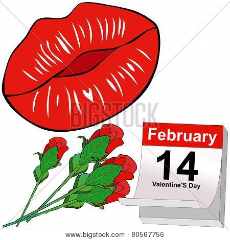 Kisses And Red Roses For Valentine's Day