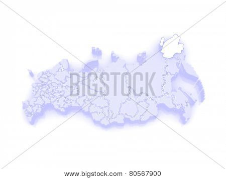 Map of the Russian Federation. Chukotka Autonomous Okrug. 3d