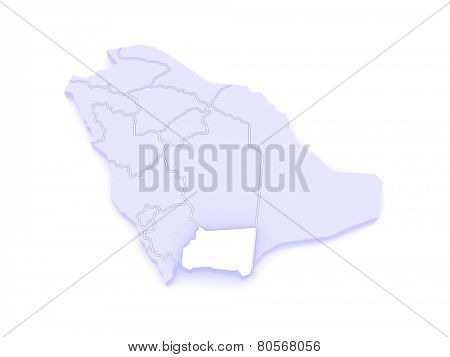 Map of Najran. Saudi Arabia. 3d